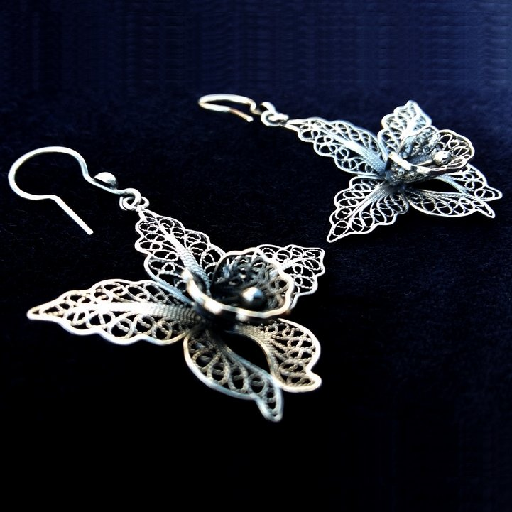 Filigree Earrings Orchids, dark