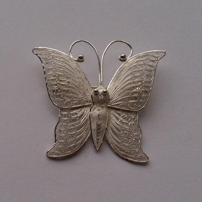 Filigree Butterfly Brooch Mariposa Light