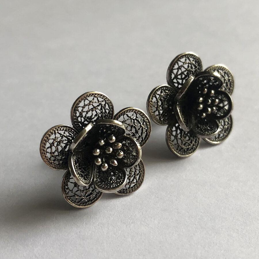 Flower Earrings Flor de Primavera Oscuro