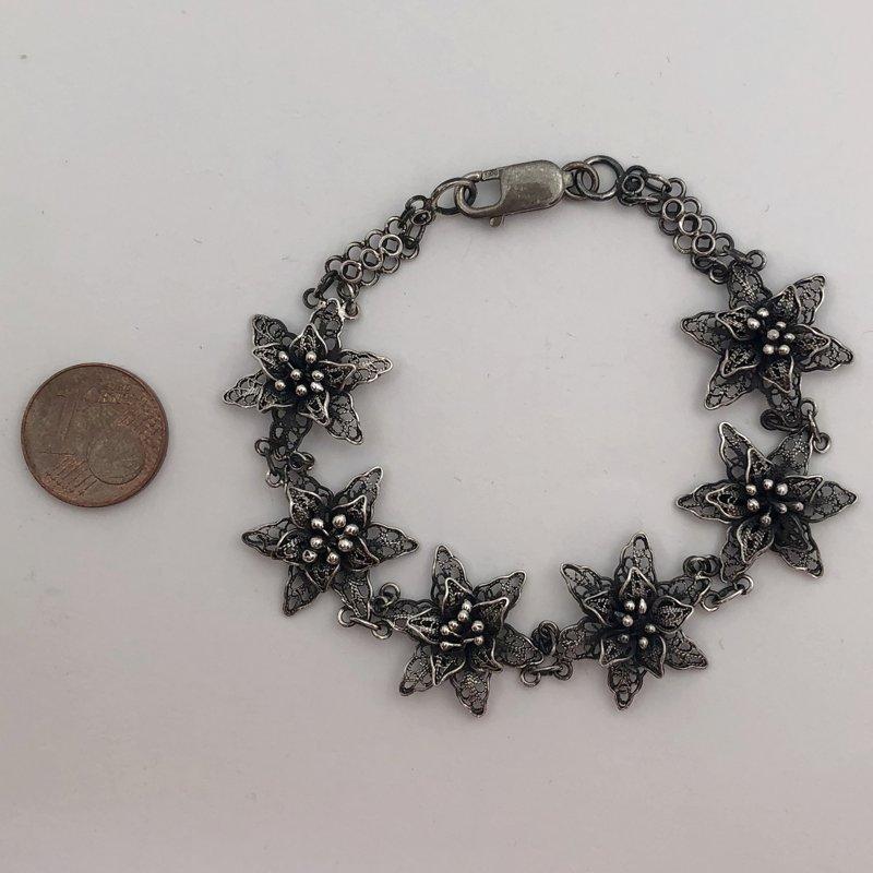 Silver Filigree Bracelet Flor de Amor