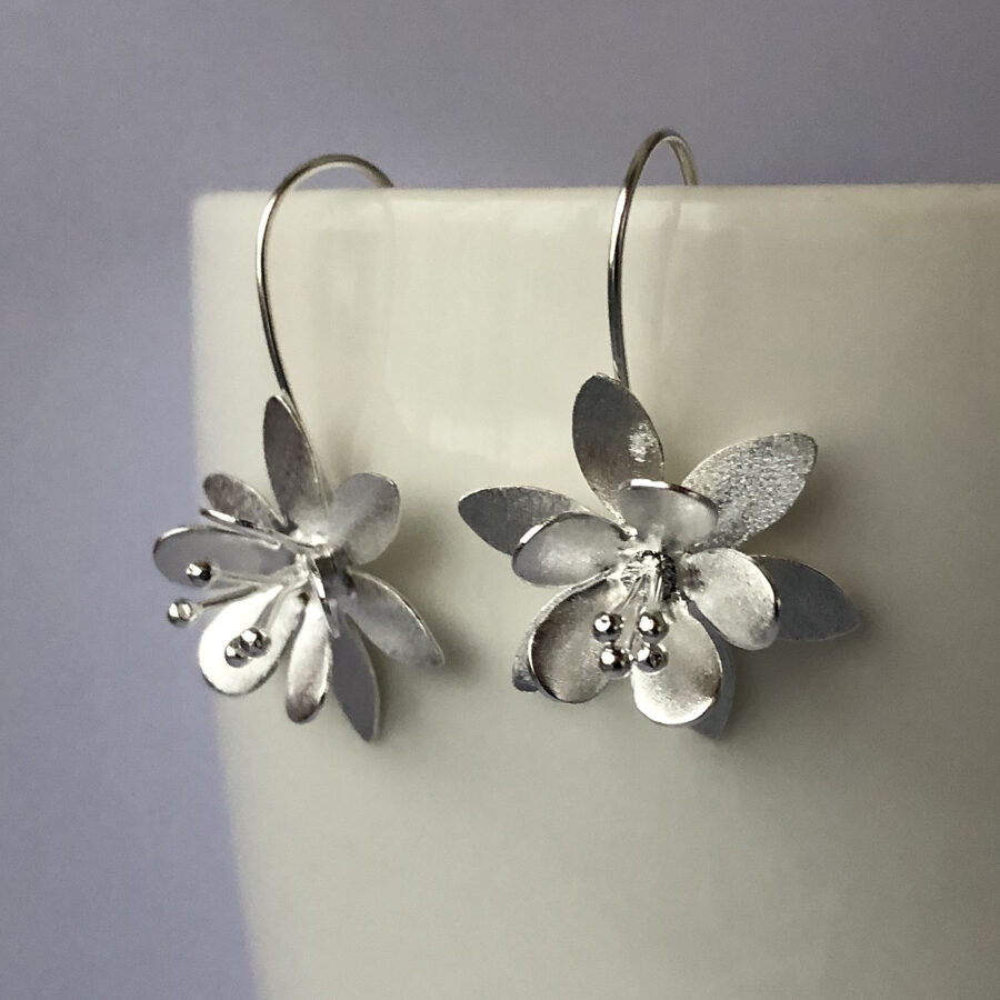 Frosted Silver Earrings Flor Helada