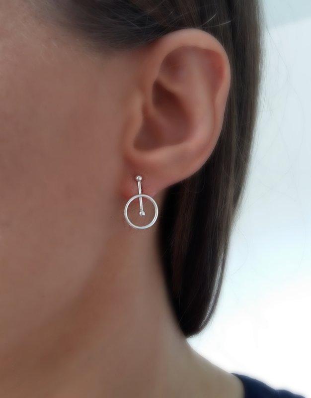 Silver Stud Earrings Karma Circle II