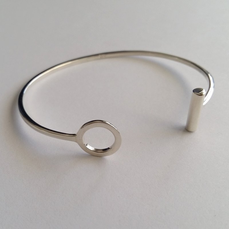 Sterling Silver Bangle Bracelet Karma Ring