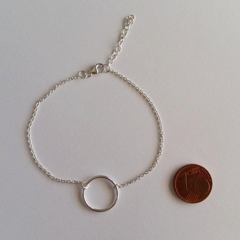 Silver Chain Bracelet Karma Ring