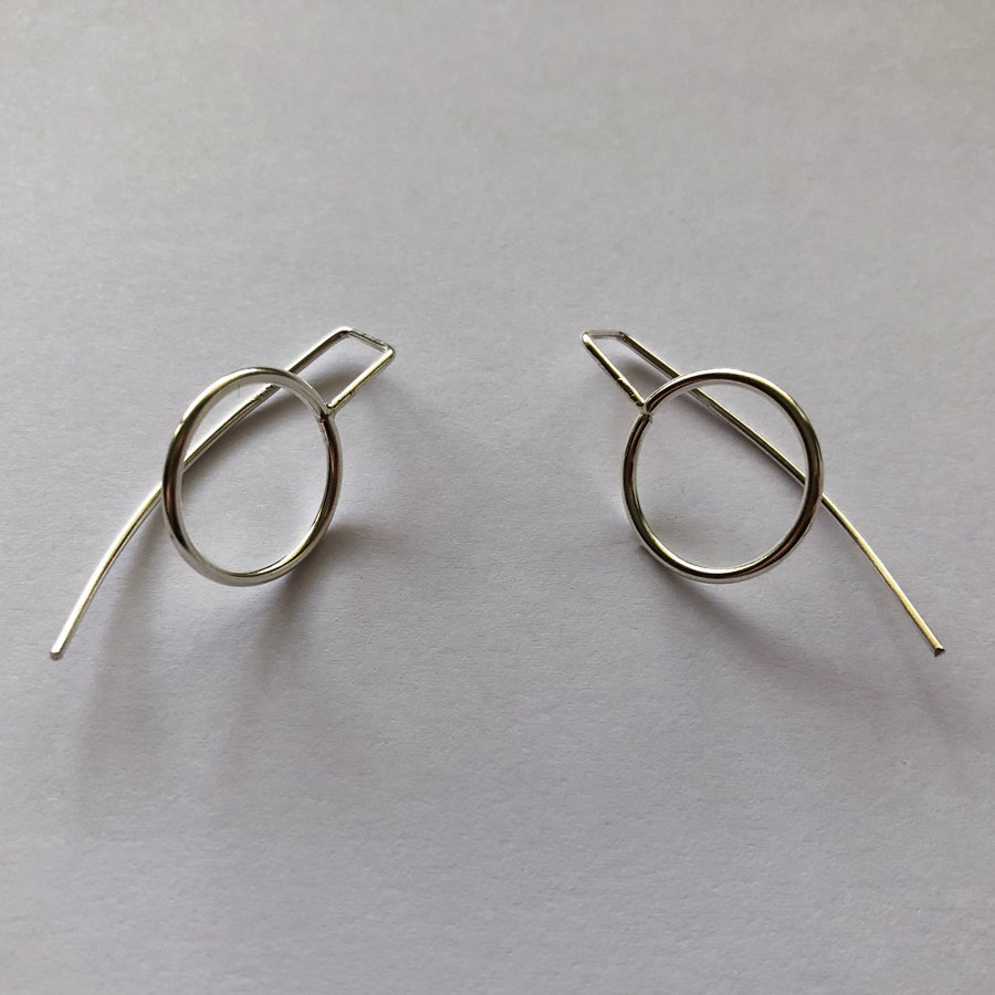 Silver Long Stem Earrings Karma Circle