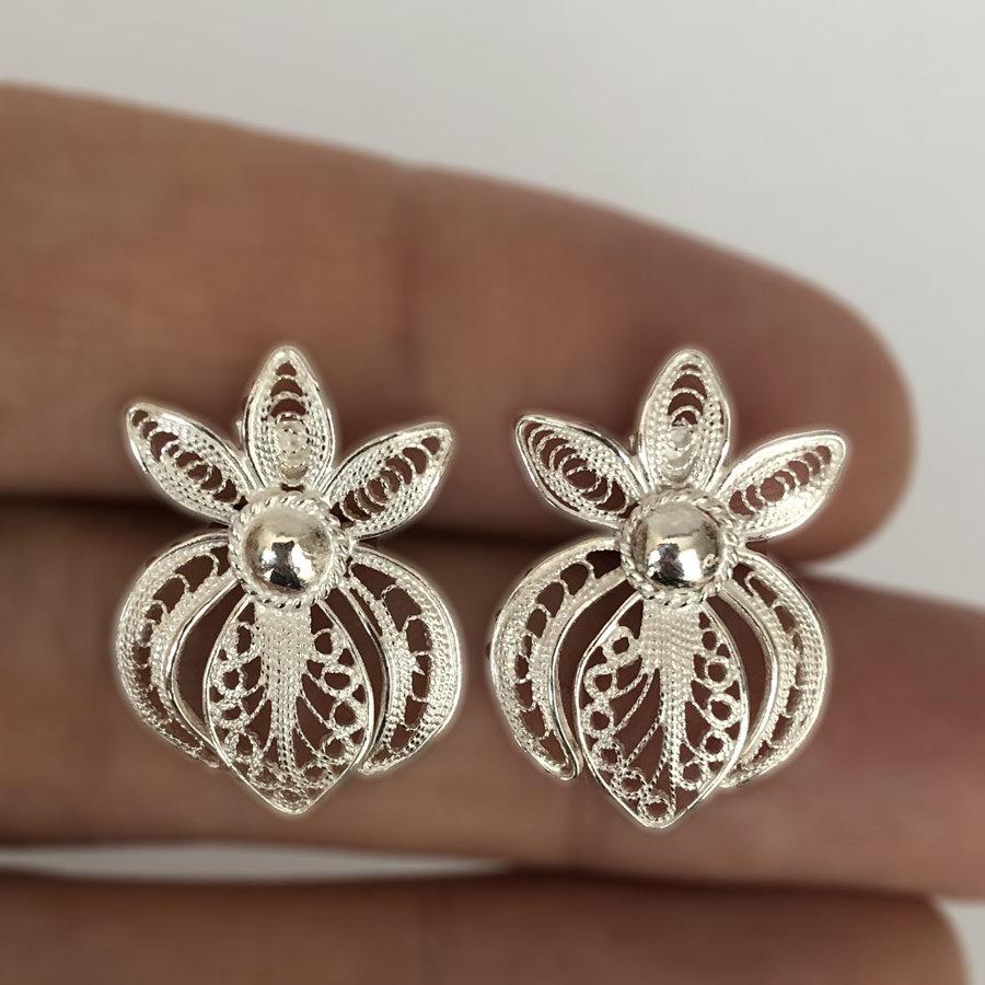 Large Orchid Filigree Stud Earrings