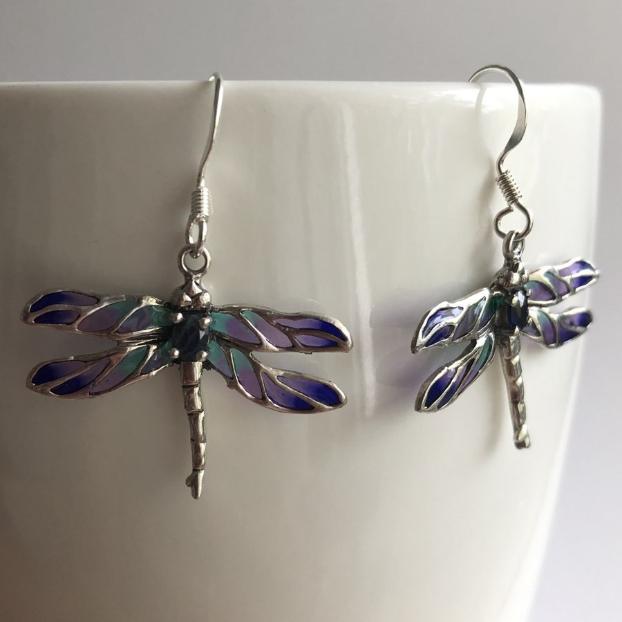 Stained Glass Dragonfly Earrings Libelula Safiro, with Sapphire