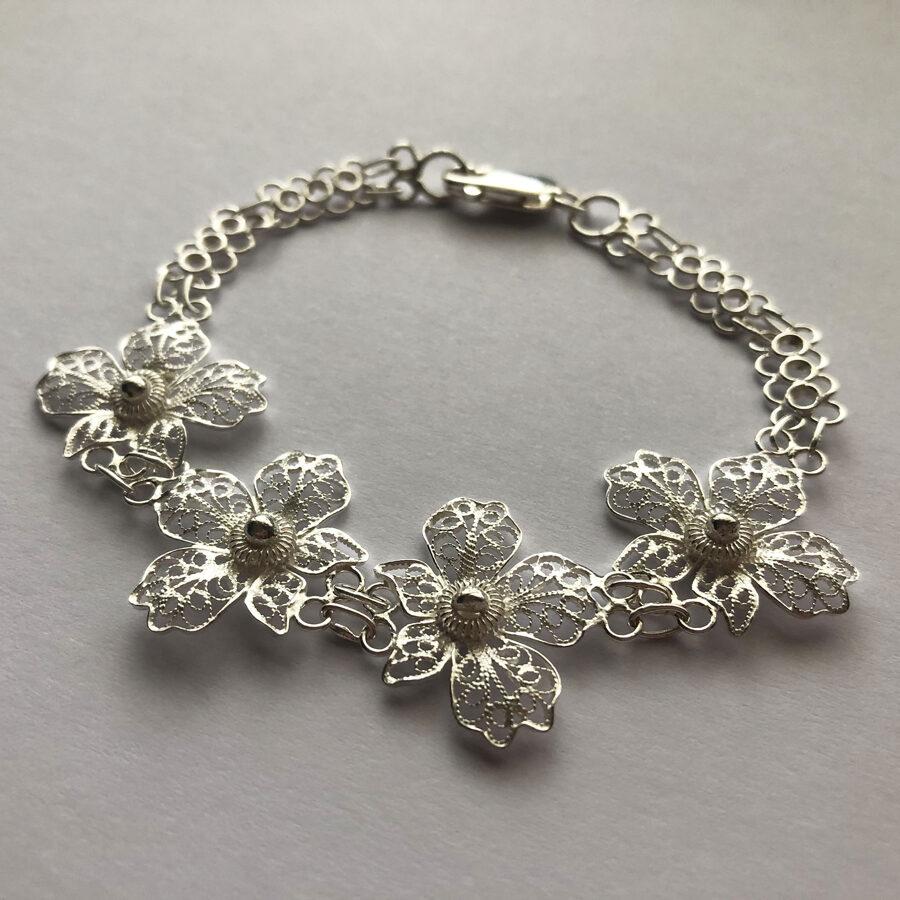 Silver Filigree Bracelet Orquidea Clara