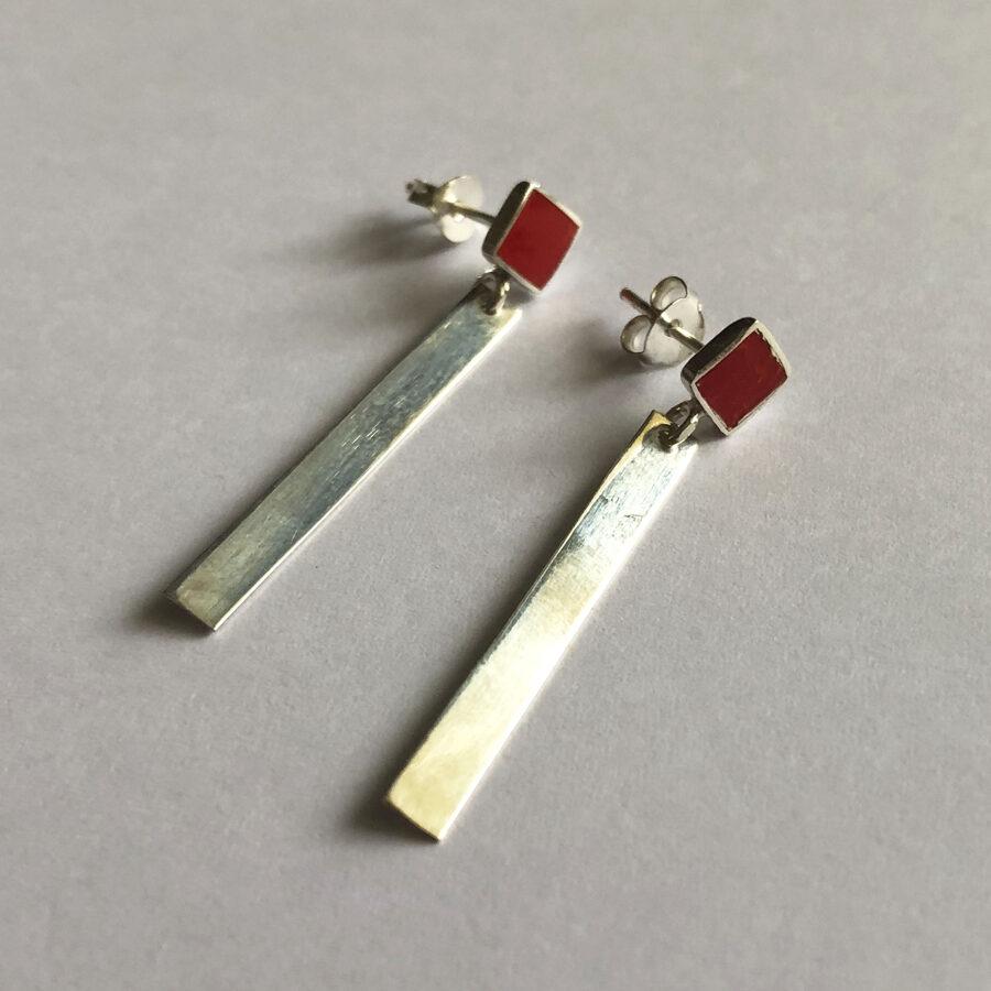 Silver Earrings Raya Rojo