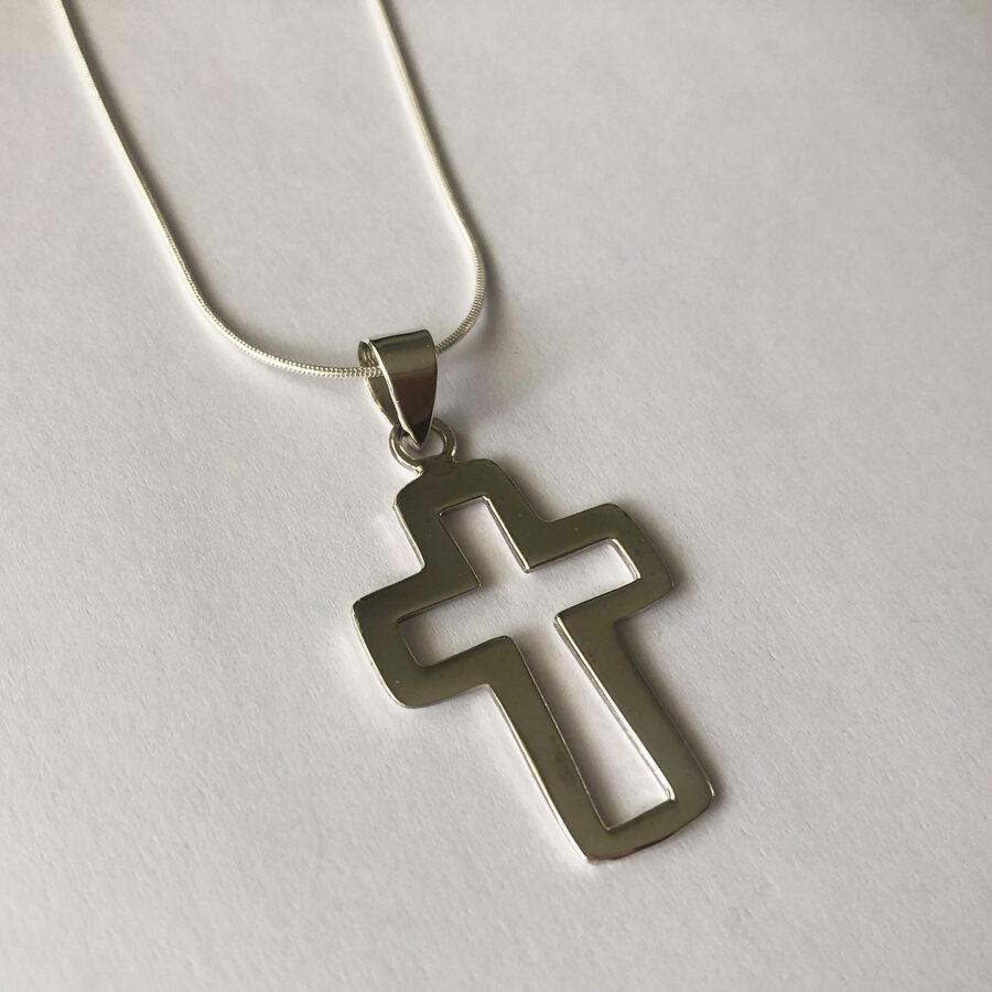 Silver Cross Necklace Cruz Eterno