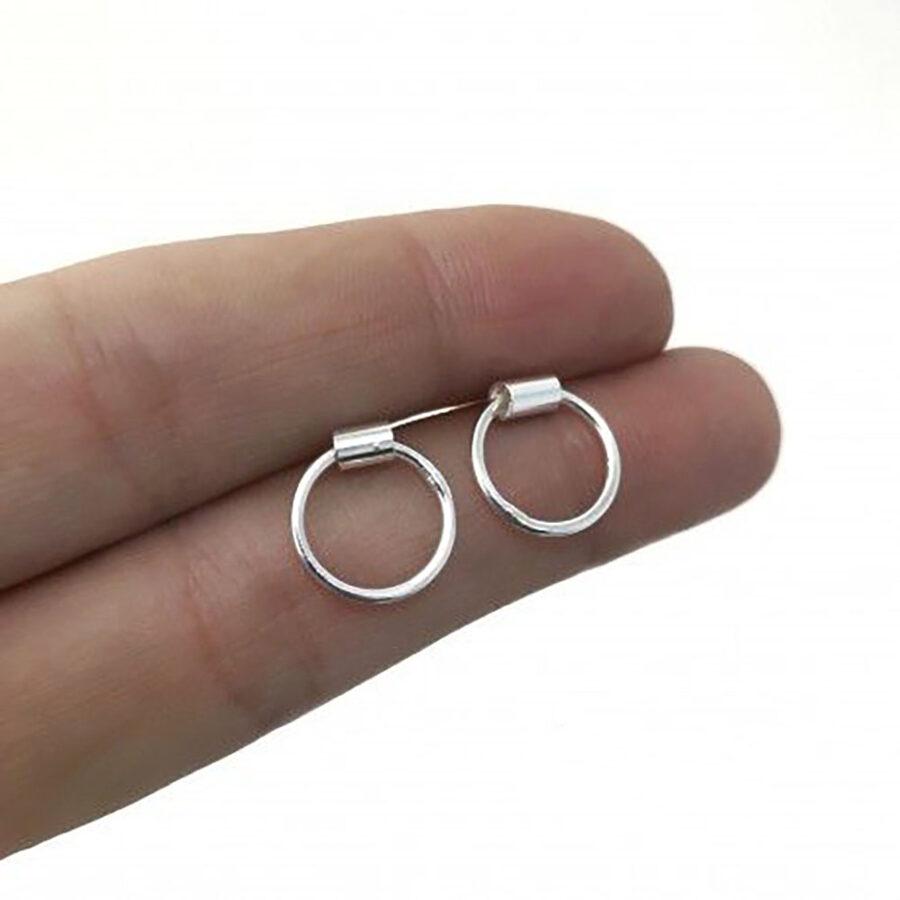 Silver Earrings Karma Circle Tubo
