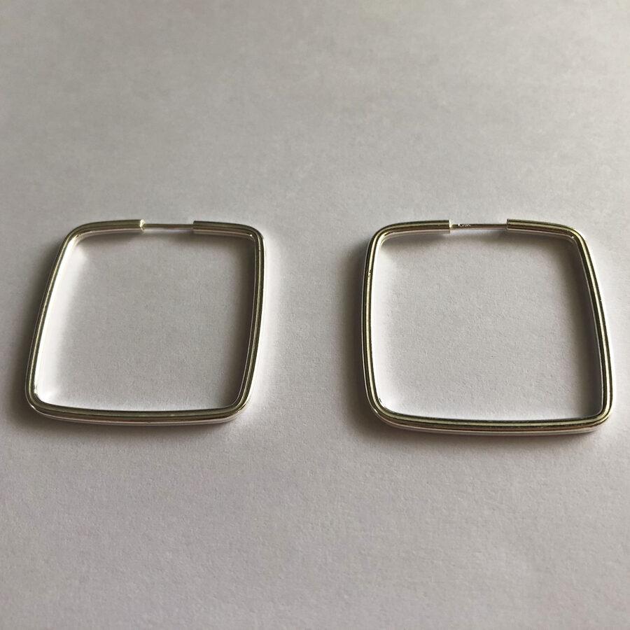Silver Hoop Earrings Aro Cuadrado