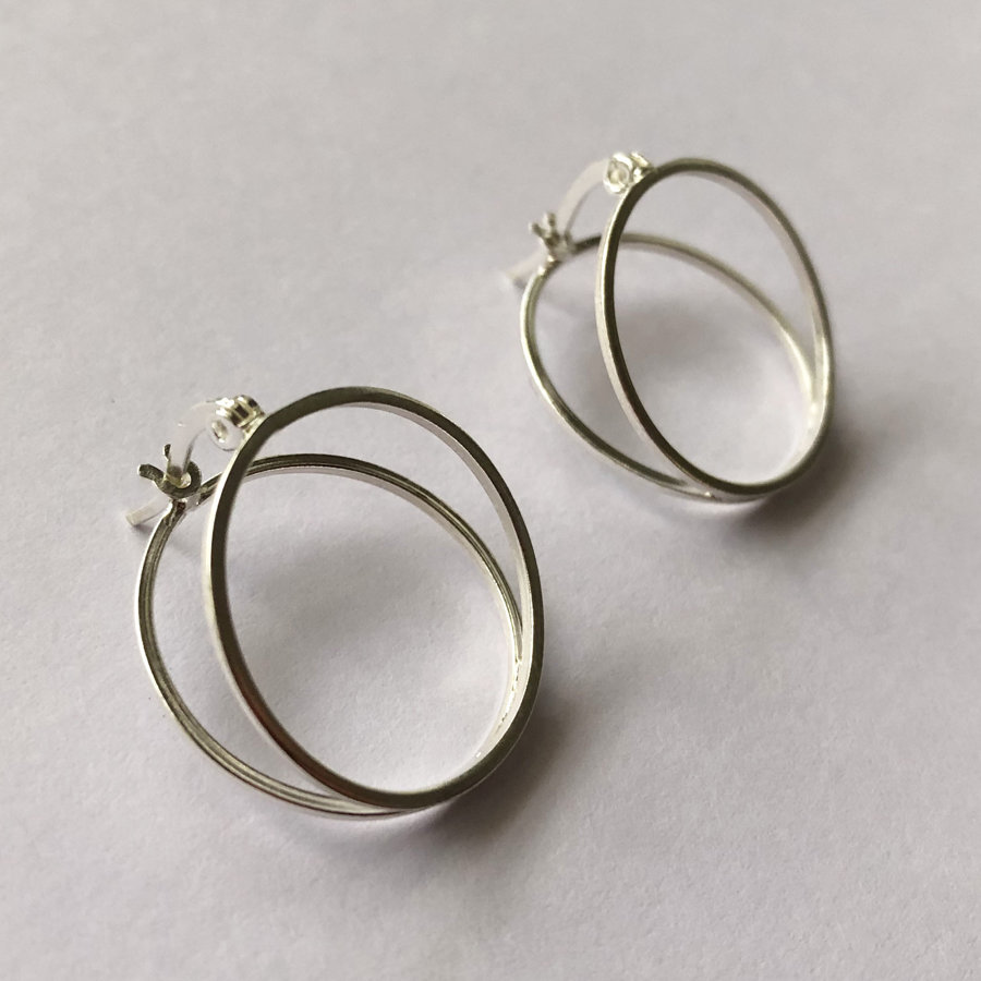 Silver Hoop Earrings Double Hoop