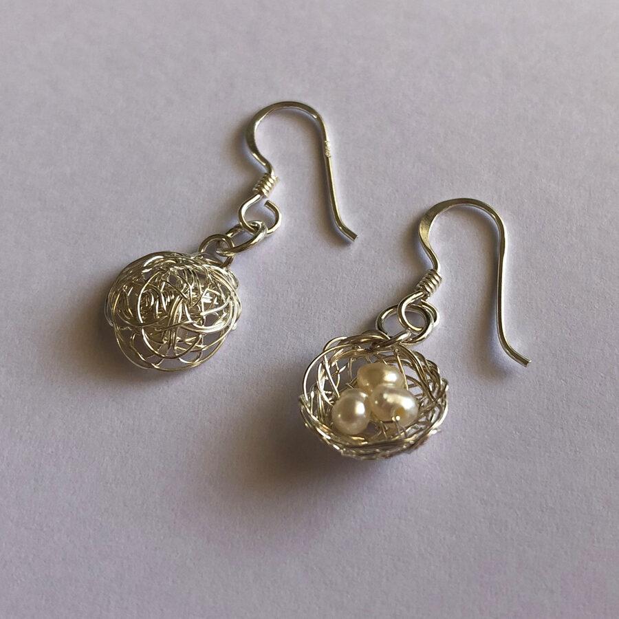 Silver Nest Earrings Nido