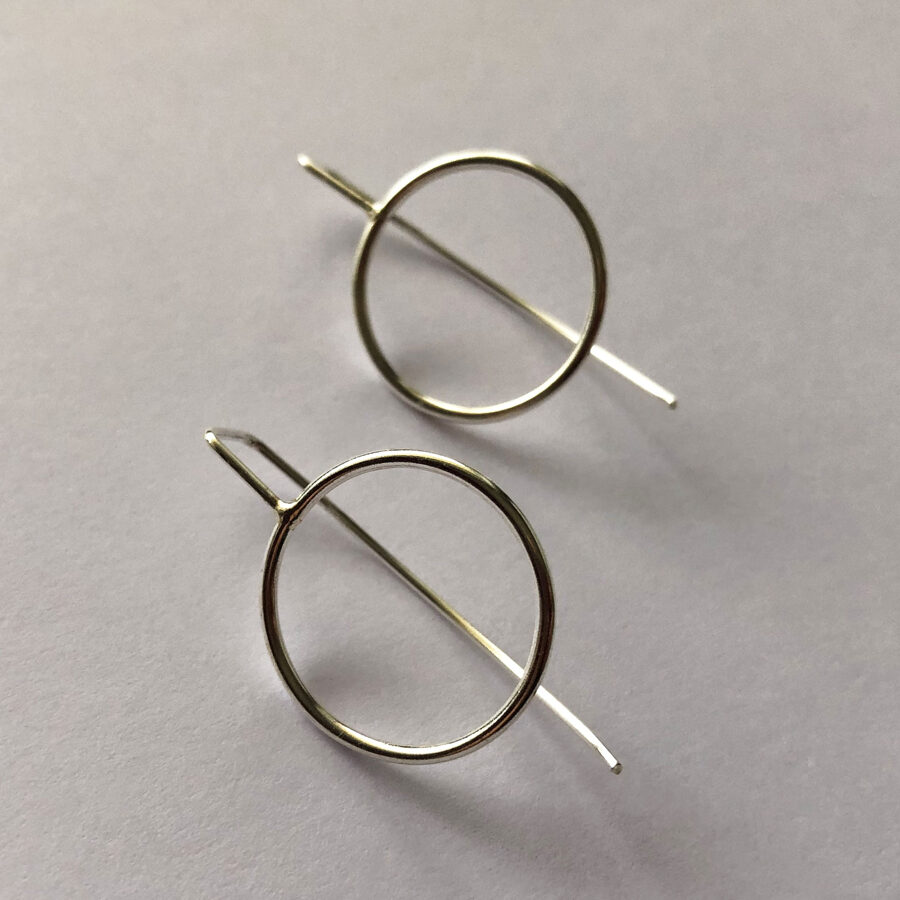 Silver Long Stem Earrings Karma Circle L
