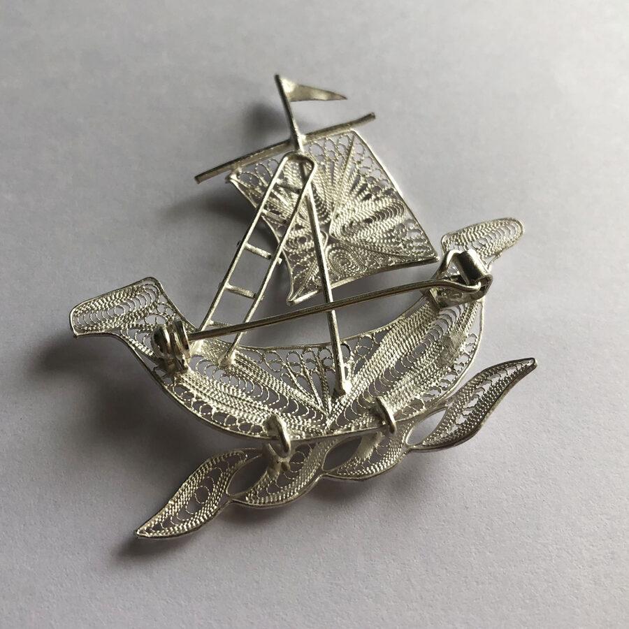 Silver Ship Brooch Barco Light
