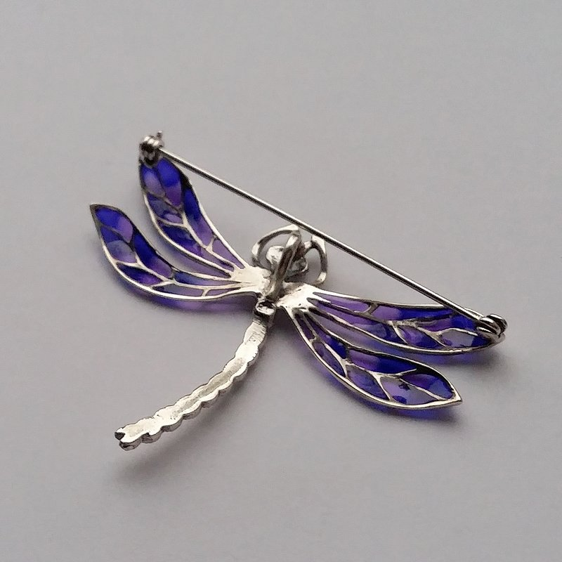 Stained Glass Dragonfly Brooch Libelula Azul