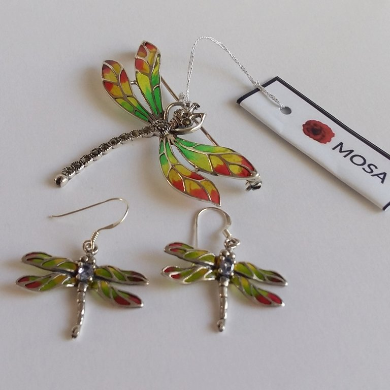 Stained Glass Dragonfly Brooch Libelula Verde
