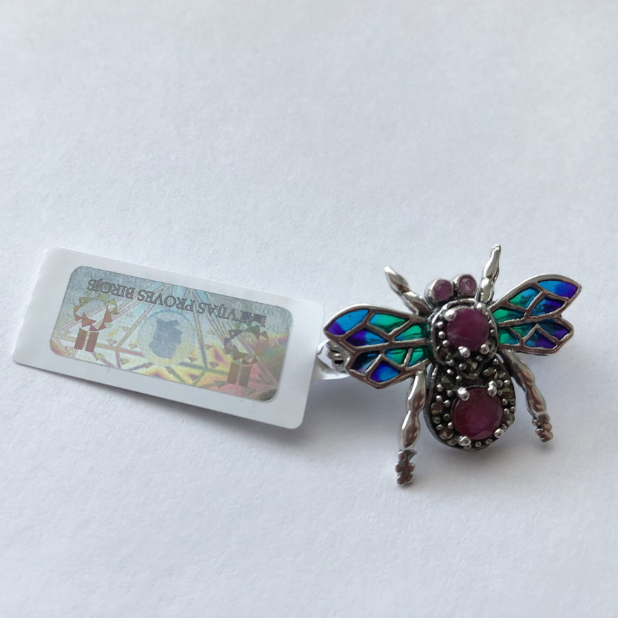 Stained Glass Brooch Mosca Vidriera
