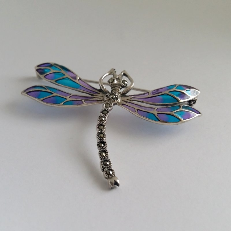 Stained Glass Dragonfly Brooch Libelula Azul Violeta