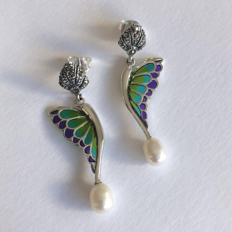 Vitrāžu auskari Alas Mariposa Verde Lila