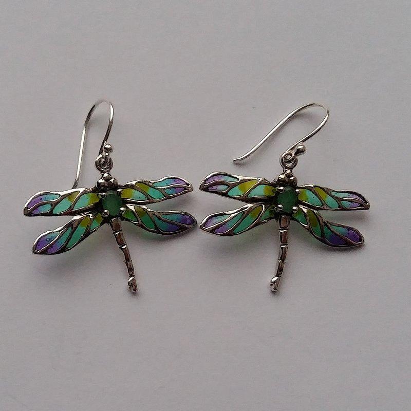 Vitrāžu spāres auskari ar smaragdu Libelula Verde Azul