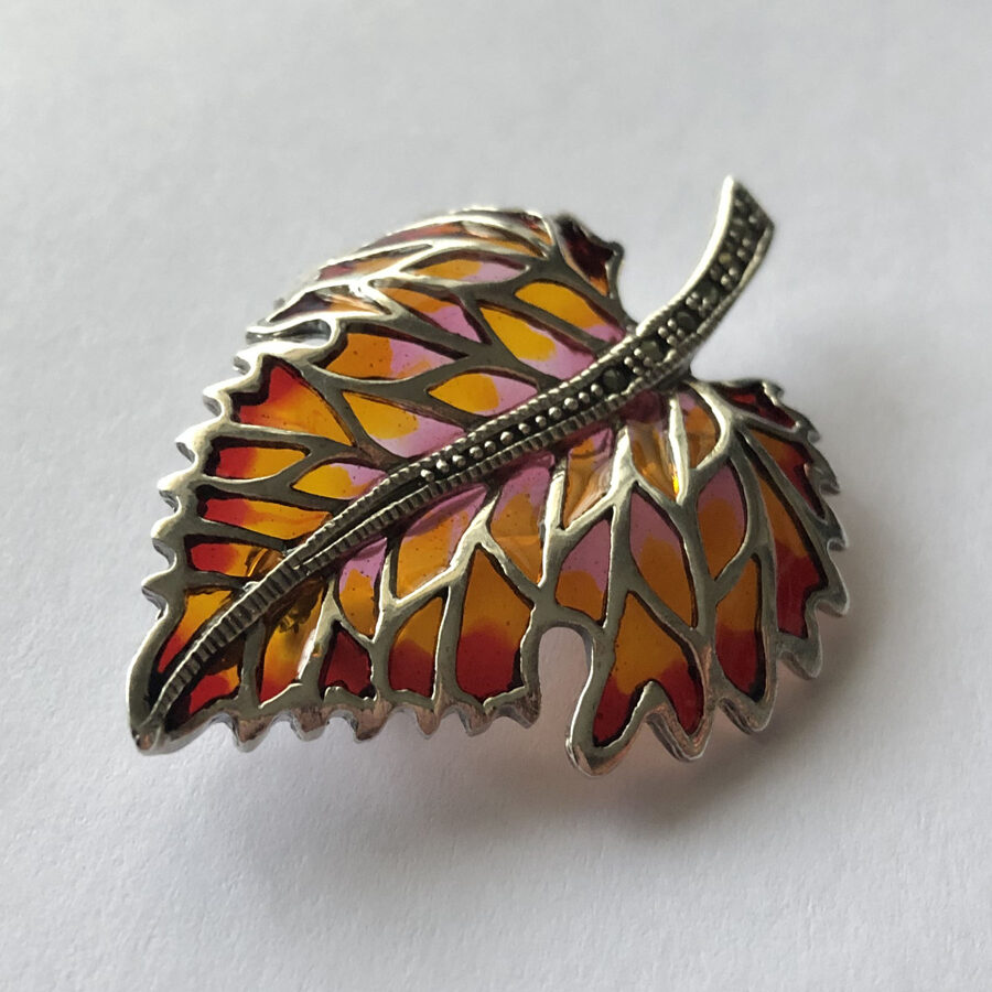 Stained Glass Leaf Brooch Hoja