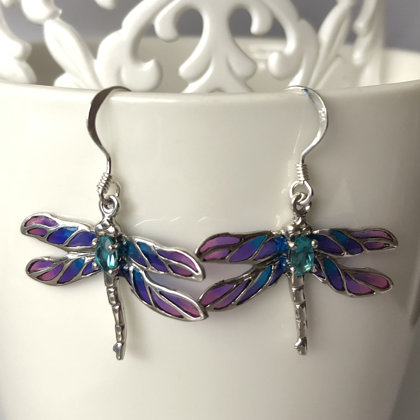 Dragonfly Earrings Libelula Azul Morado