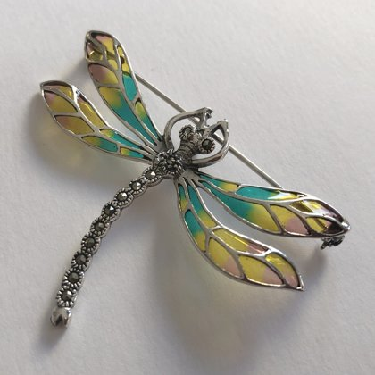 Stained Glass Dragonfly Brooch Libelula Melocoton