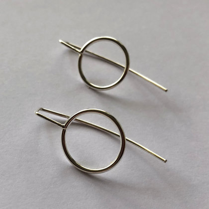 Silver Long Stem Earrings Karma Circle
