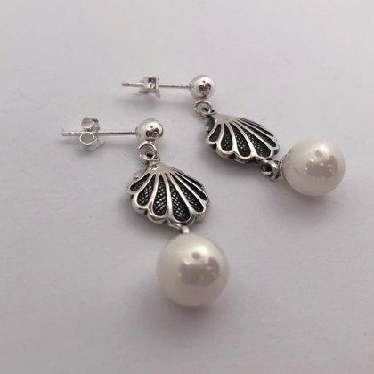 Sudraba gliemežvāka auskari ar pērli Concha con Perla