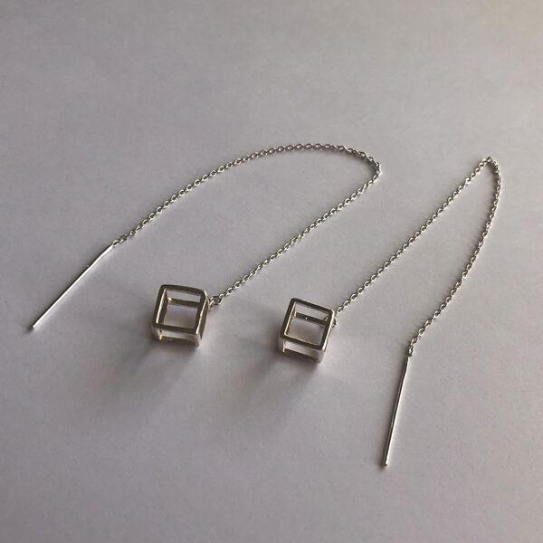 Silver Threader Earrings Cubo