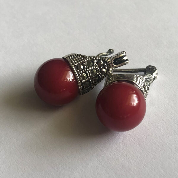 Marcasite Earrings Lady D in Red