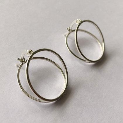 Silver Hoop Earrings Double Hoop